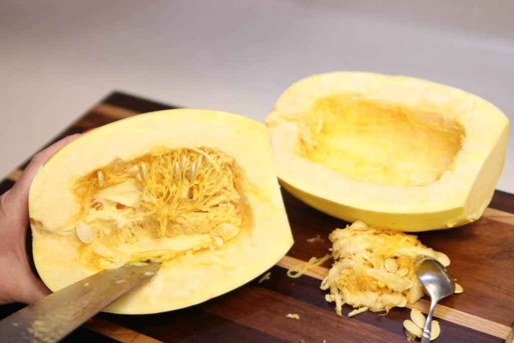 Spaghetti Squash: Cut the guts out.