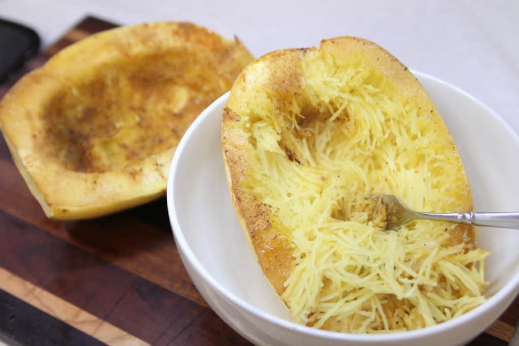 "Use fork to pull out spaghetti squash ""noodles"""