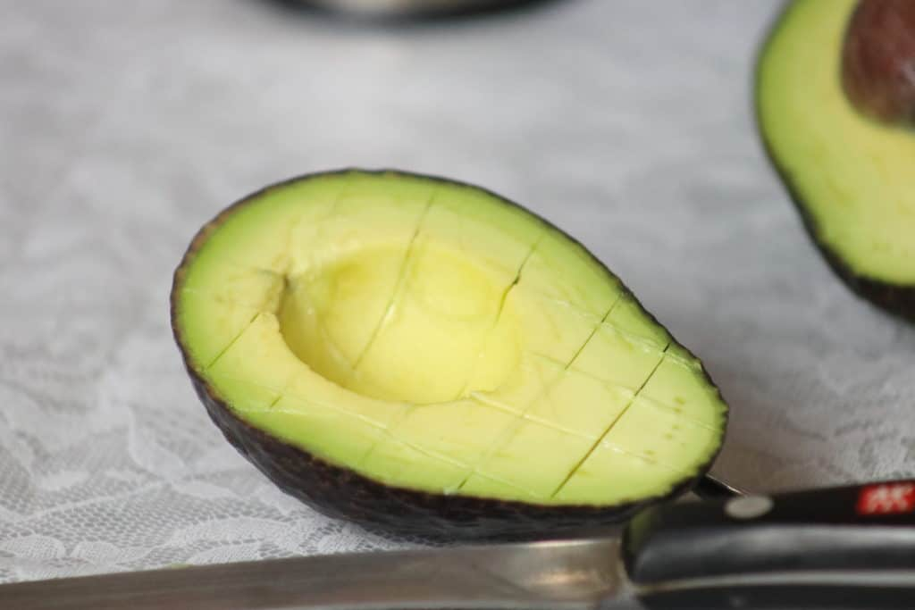 slice avocado into cubes