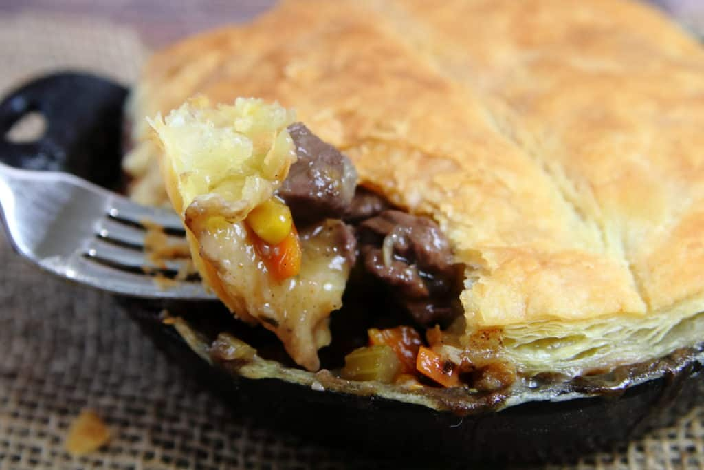 Beef Stew Pot Pie with flaky puff pastry