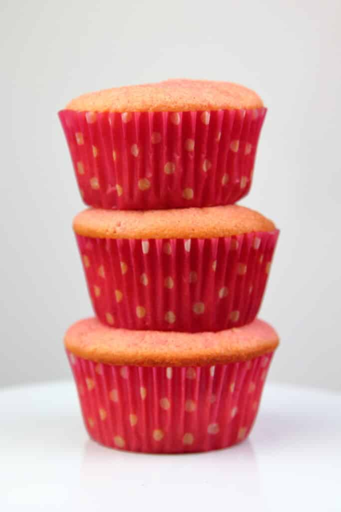 Strawberries and Cream Cupcakes stacked without frosting