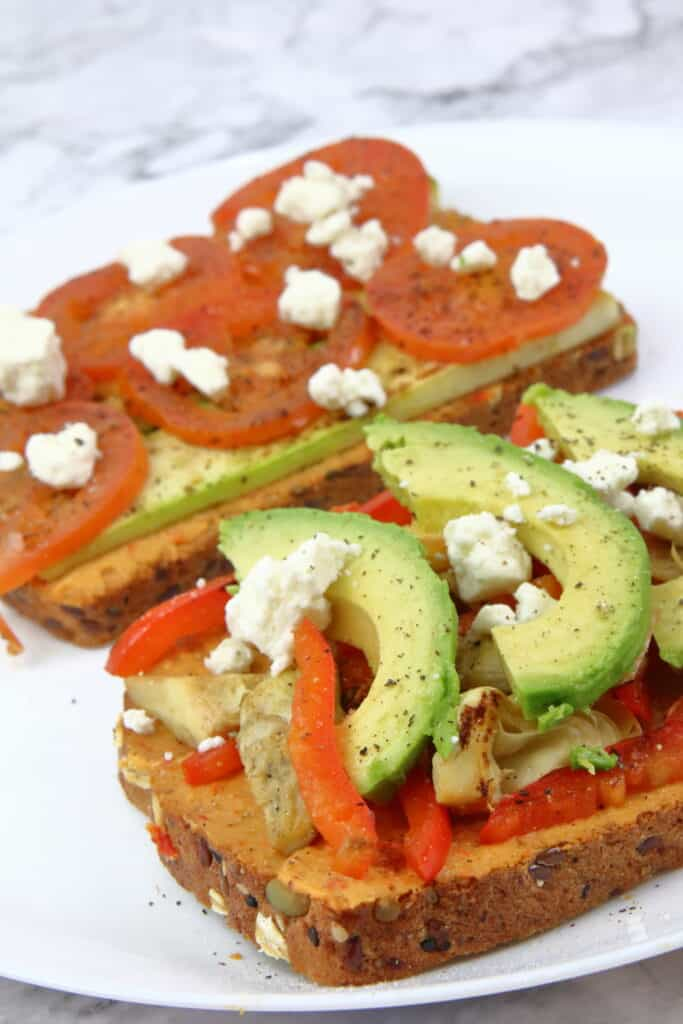 Open face grilled vegetable sandwich