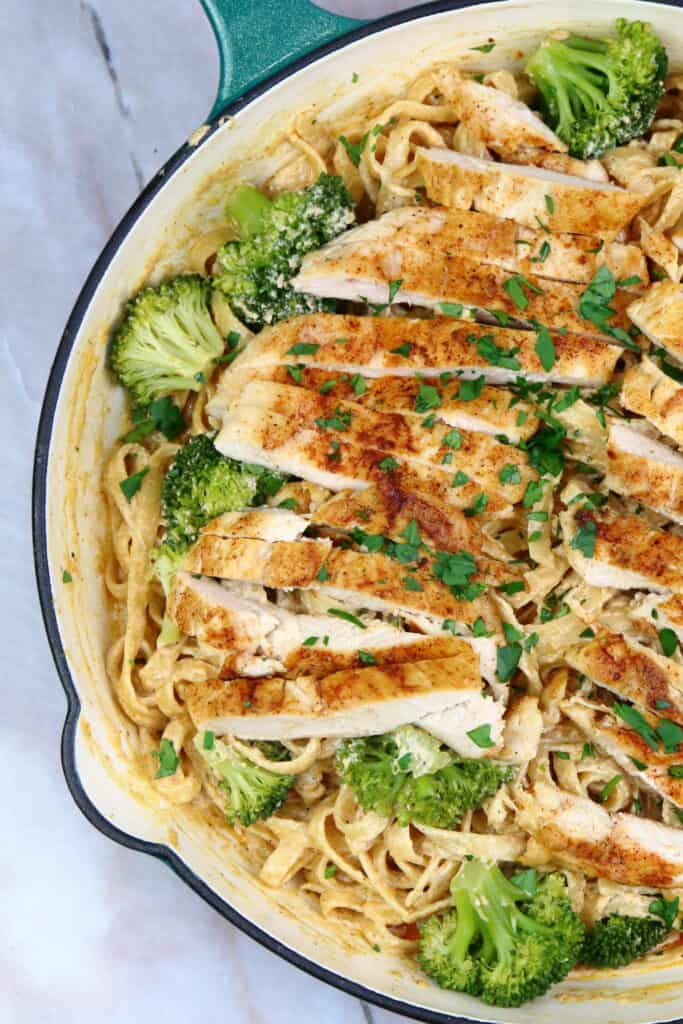 Cajun Chicken Pasta in a saute pan