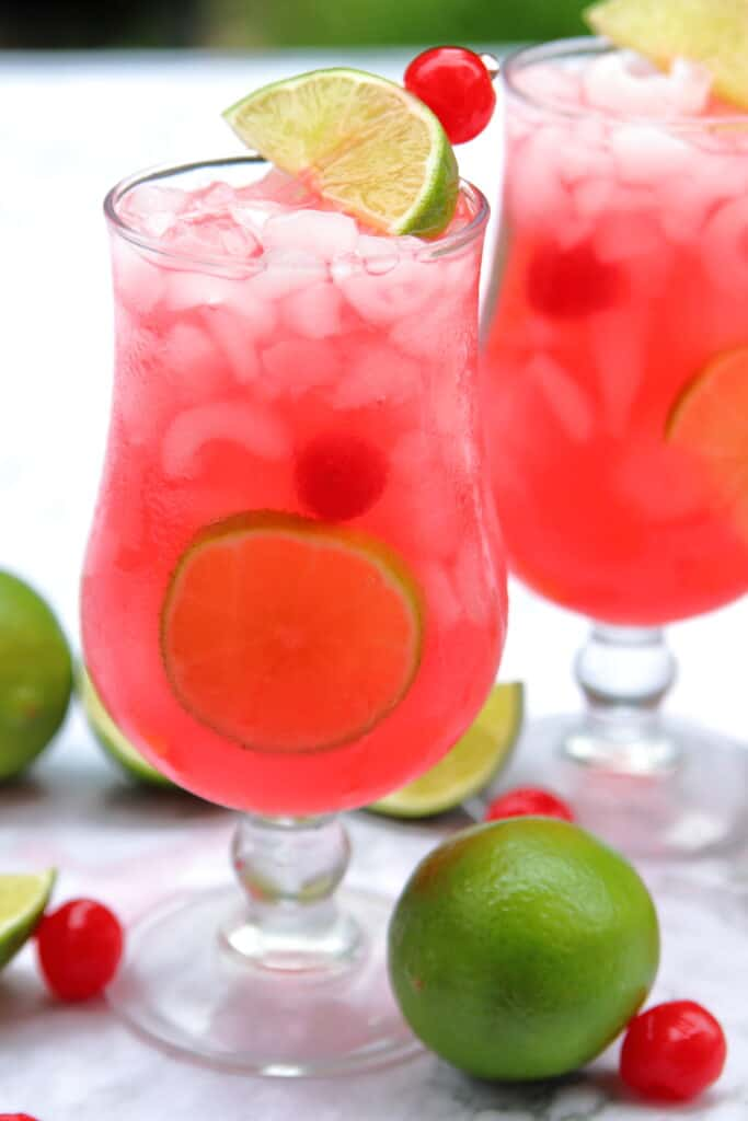 Two glasses of cherry limeade