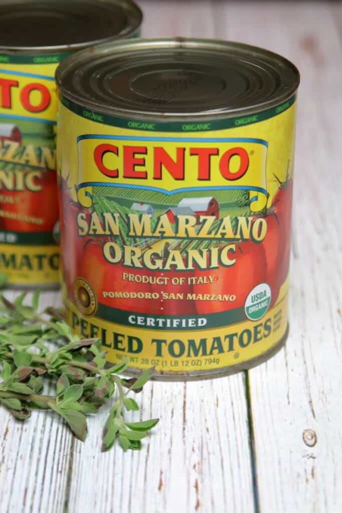 Can of San Marzano tomatoes, the base for the sauce for the pasta bake