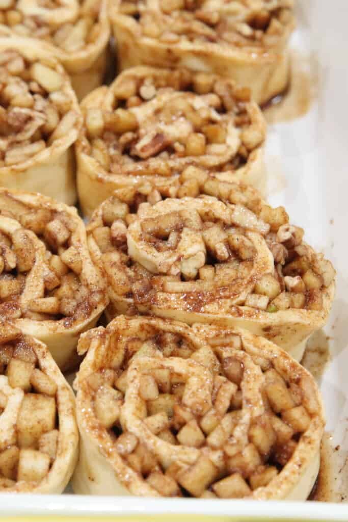 cinnamon rolls packed in a baking pan after being cut, before baked