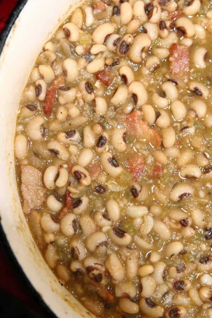 overhead shot of black eyed peas in a pot