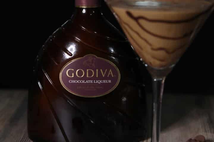 close up of godiva liqueur bottle