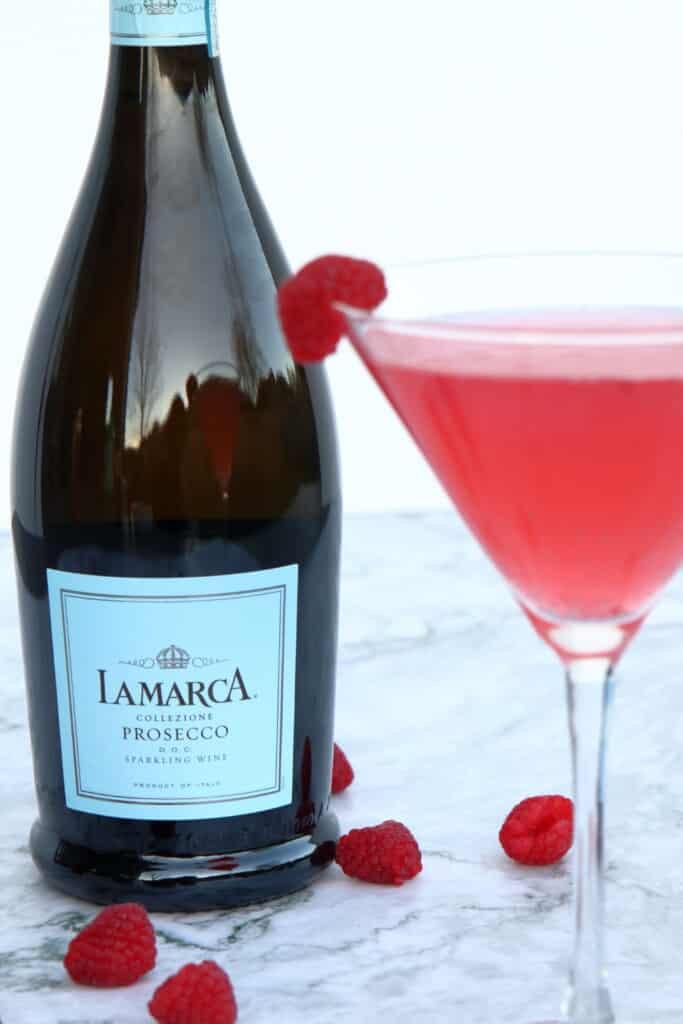 Closeup of a bottle of LaMarca.