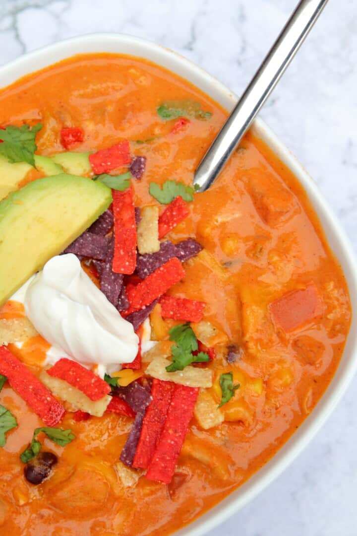 Bowl of chicken enchilada soup