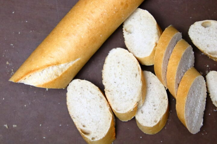 Baguette loaf with small slices cut off
