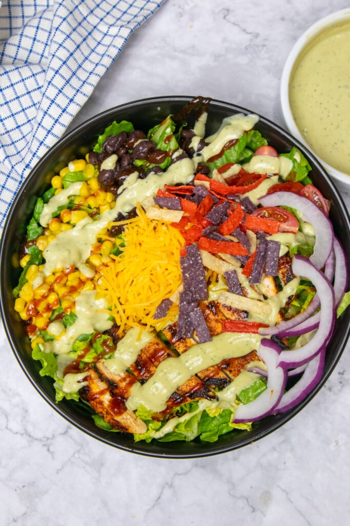southwest chicken salad with all of the toppings